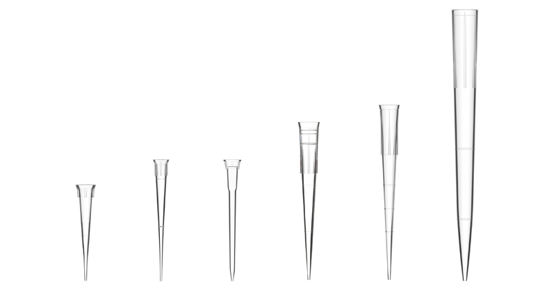 pipetpunten in verschillende grootte